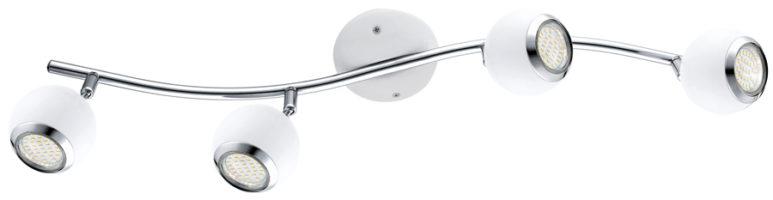 White Steel Ball 4 Lamp LED Ceiling Spotlight Bar