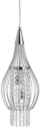Modern Chrome And Crystal Cage Pendant Light
