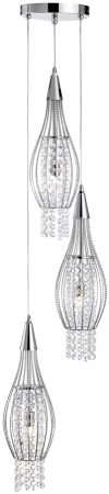 Modern Chrome And Crystal Dingle Dangle 3 Light Pendant