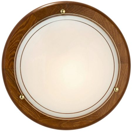 Oak Circular Flush Fitting Wall or Ceiling Light