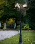 Classic 3 Head Outdoor Lamp Post Black And Green