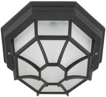 Black Octagonal Flush Outdoor Porch Light
