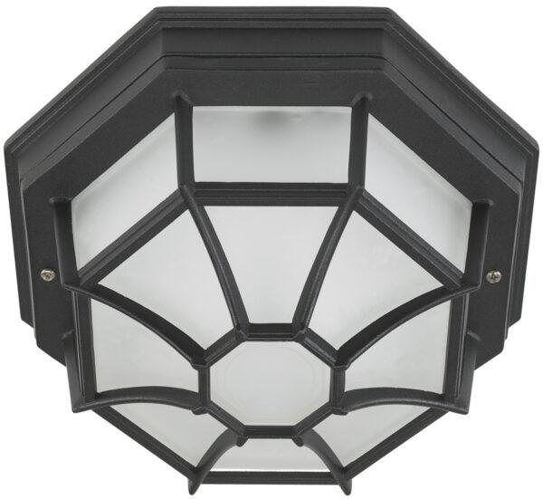 Black Octagonal Flush Outdoor Porch Light