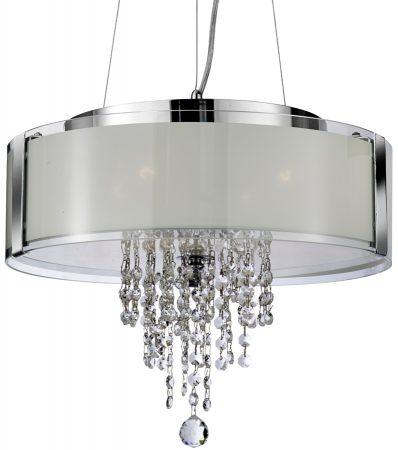 Modern Polished Chrome 4 Lamp Glass Shade Pendant Glass Drops