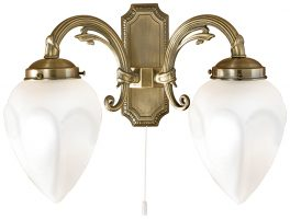 Bronze Art Deco Style Flame Switched Twin Wall Light