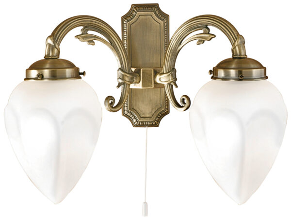 Traditional Switched Wall Lights : Imperial Art Deco Style Flame Switched Twin Wall Light Bronze Eglo 82745