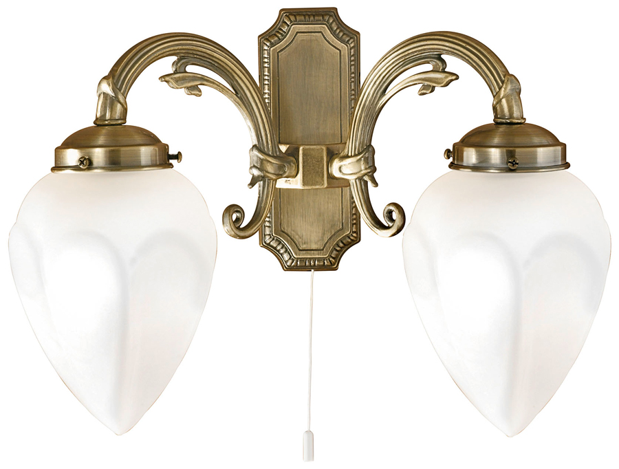 Deco Style Wall Lights : Imperial Art Deco Style Flame Switched Twin Wall Light Bronze Eglo 82745