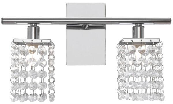 Pyton Contemporary Chrome 2 Light Crystal Wall Light