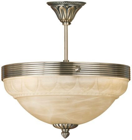 Marbella Bronzed 3 Light Semi Flush Ceiling Light Alabaster Glass