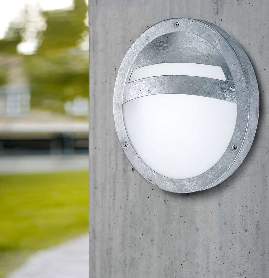 Sevilla galvanised low energy flush outdoor bulkhead wall for Low power outdoor lights