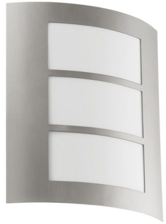 City Flush Outdoor Wall Light Stainless Steel And White Panels