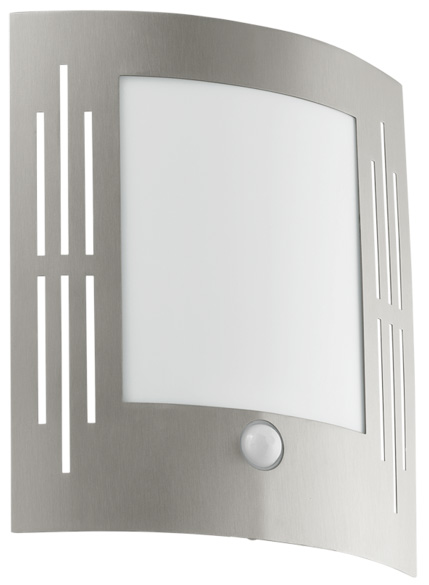 City Flush Outdoor PIR Wall Light Slotted Stainless Steel Face