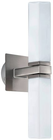 Palermo Modern Satin Nickel Twin Bathroom Wall Light