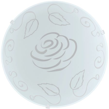 Mars Rose Motif Opal Glass Flush Ceiling or Wall Light