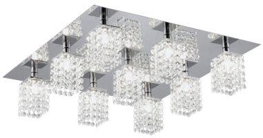 Contemporary Chrome Flush 9 Light Crystal Fitting