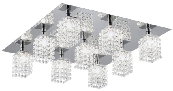 Contemporary Chrome Flush 9 Light Crystal Fitting