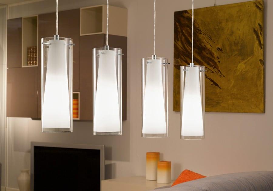 Pinto Polished Chrome 4 Light Pendant Bar Opal Clear Glass | Eglo 89834