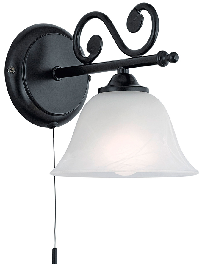 Murcia Black Iron Switched Wall Light With Alabaster Shade 91006