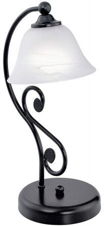 Murcia Black Iron Table Lamp With Alabaster Glass Shade