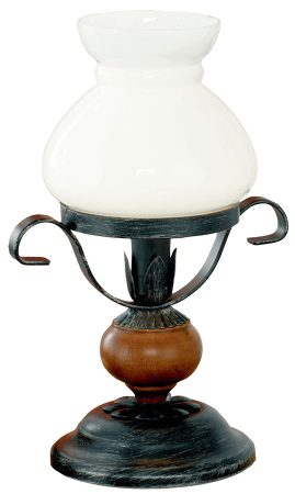 Replica Black Steel Table Oil Lamp With White Glass