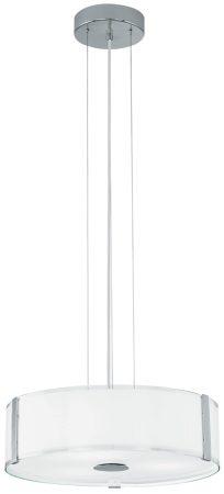 Modern Chrome 3 Light White Glass Drum Pendant