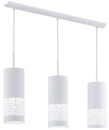 Modern White Steel Patterned 3 Light Pendant