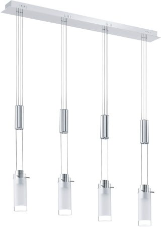 Aggius Chrome LED Rise And Fall 4 Light With Glass Shades