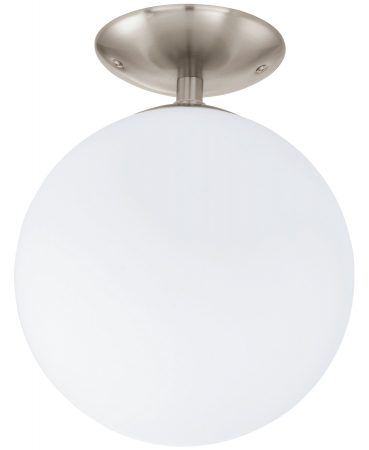 Rondo Modern Opal Globe Flush Nickel Light