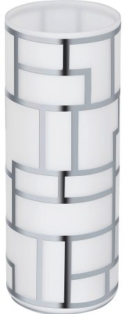 Bayman Modern White Glass Chrome Patterned Table Lamp