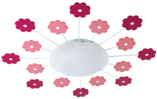 Modern Childs Room Flush Multi Flower Detail Light