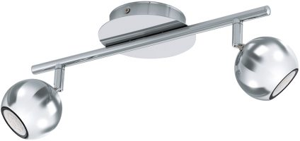 Chrome Ball 2 Lamp Ceiling LED Spotlight Bar