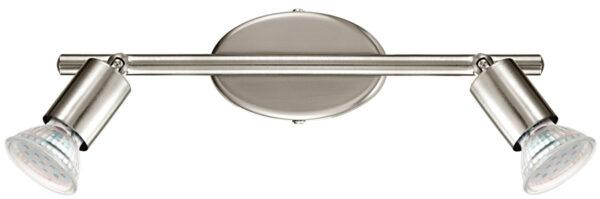 Buzz Modern Satin Nickel 2 Light LED Ceiling Spot Light Bar