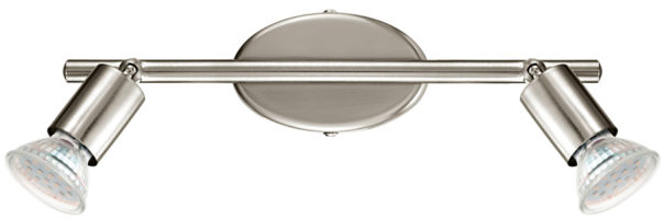 Buzz Modern Satin Nickel 2 Light LED Ceiling Spot Light Bar