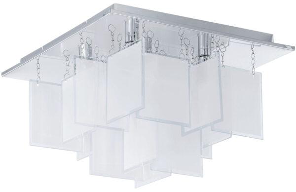 Condrada Small Square Chrome Flush Ceiling Light