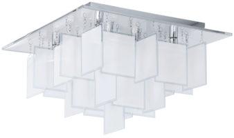 Medium Modern Chrome Square Flush Ceiling Light