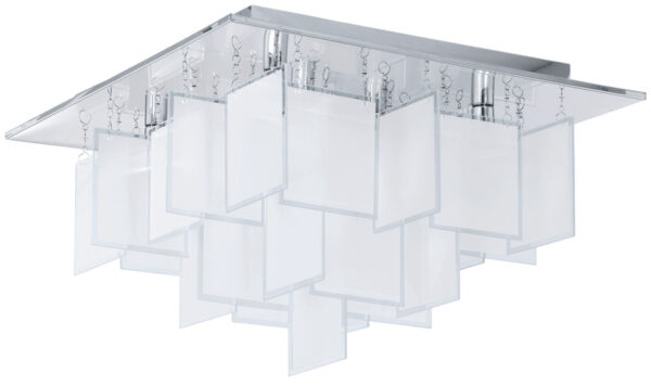 Medium Modern Chrome Square Flush Ceiling Light