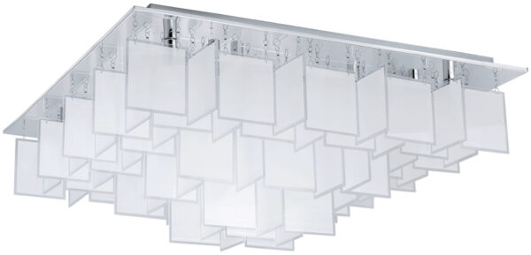 Large Modern Chrome Square Flush Ceiling Light