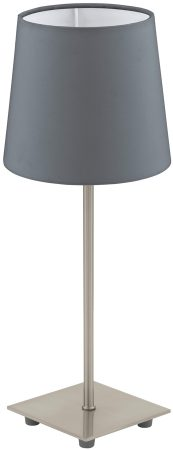 Lauritz Tall Satin Nickel Grey Table Lamp