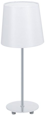 Lauritz Tall Satin Nickel White Table Lamp