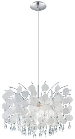 Fedra Large Modern Chrome And Crystal Ceiling Pendant Light