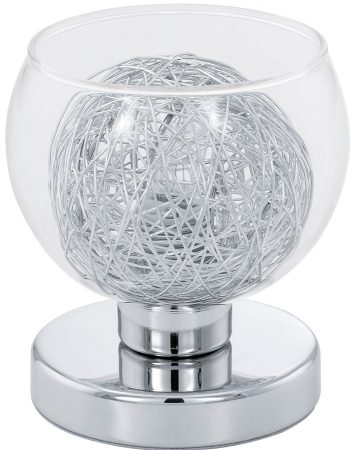 Oviedo Glass & Aluminium Globe Table Lamp Polished Chrome