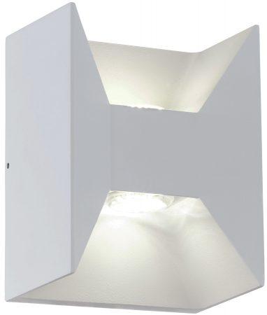 White Aluminium LED 2 Lamp Outdoor Wall Light