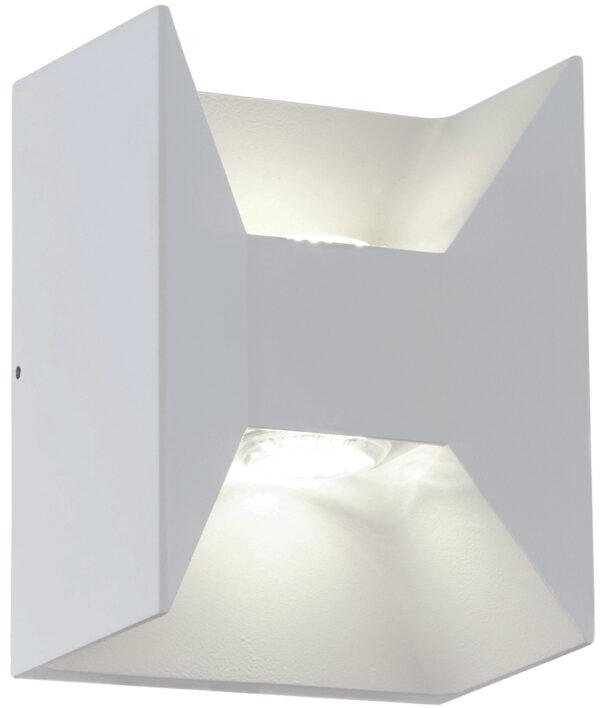 White Aluminium LED 2 Lamp Outdoor Wall Light