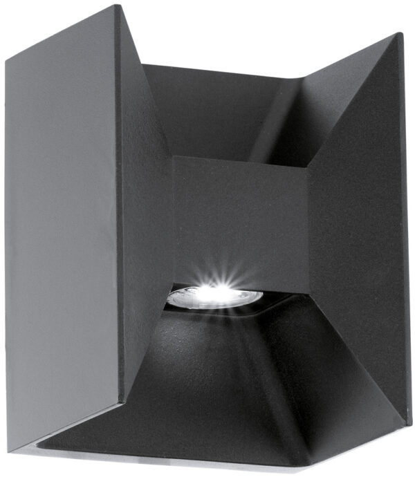Modern Black Outdoor LED 2 Lamp Wall Washer Light