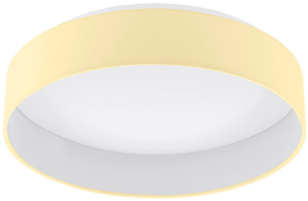 Medium Cream Fabric Circle LED Flush Ceiling Light