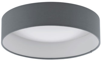 Small Grey Fabric Circle LED Flush Ceiling Light