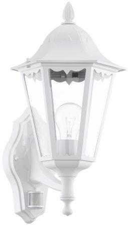 White Traditional Upward Outdoor PIR Wall Light