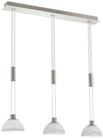 Montefio Satin Nickel Rise And Fall 3 Light LED Pendant Row
