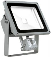 Large Silver 30w LED Outdoor PIR Wall Light