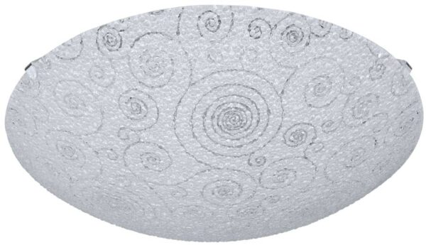 Riconto Small Patterned White Glass Flush LED Ceiling Light